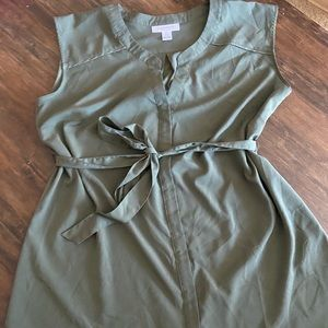 Motherhood maternity sleeveless olive shirt Sz L